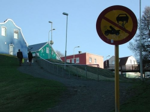 Steep hill in Akureyri City Iceland