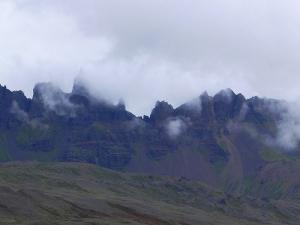 Dramatic Mountains outside Akureyri City, Iceland