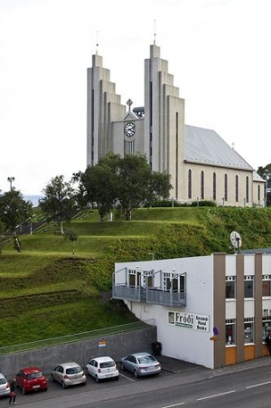 Akureyri Church on a hill from a distance