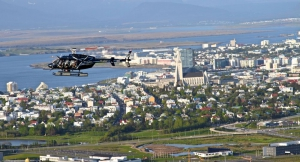 Hallgrimskirkja and helicopter from air
