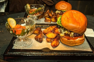 Gourmet burger and fries at Kol restaurant
