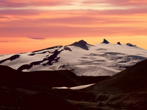 Snaefellsjokull at sunset
