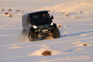 A Super Jeep in action in the snow!