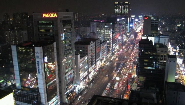 Gangnam Station Street - One direction that is. It goes equally far in all 4 directions!