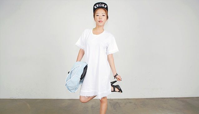 Double Layer Cutoff Dress and Cap; STYLENANDA