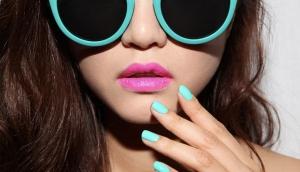 Pink Lipstick and Turqoise Nailpolish; 3 CONCEPT EYES COSMETICS
