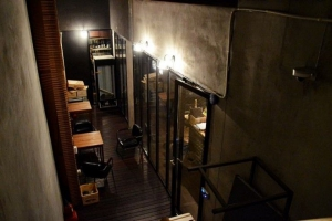 Smoking area just next to the bar