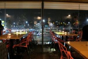 Terrace overlooking Itaewon main street
