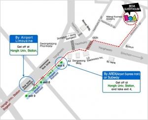 Easy access from Hongik Univ Station