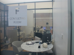 Consultation room with automatic dimmed glass for privacy!