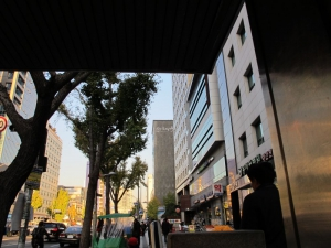 As soon as you walk out of exit 4, Sinseol Station, you'll see the hotel in front of you in the big grey building!