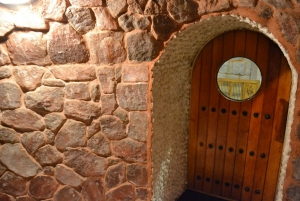 Inside the salt stone sauna