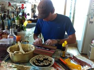 Traveler making Kimbab