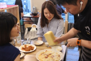 Chef Kwon with customers