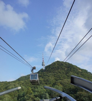 Cable car leading up Namsan Mountain