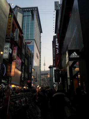 View of N Seoul tower seen from Myeongdong
