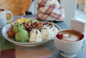 Waffles and Green Tea Ice Cream