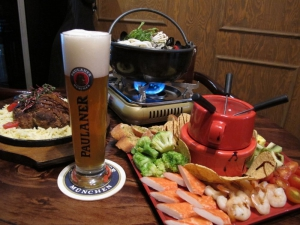 Draft Paulaner with food
