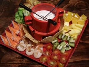 Cheese fondue dip platter