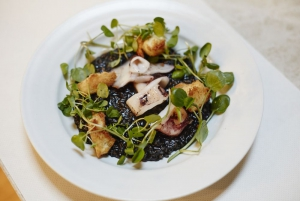 Brown Butter Poached Mero with Squid Ink Risotto