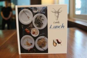 Lunch menu presented as a book