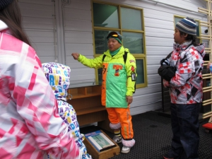 CK our instructor and guide explaining us how to size our feet for ski boots