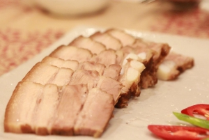 Steamed tender pork belly chunks