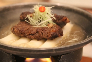 Premium Korean Hanwoo beef of tender short-rib patties marinated and grilled traditional style