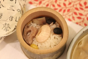 Rice cooked in a bamboo bowl