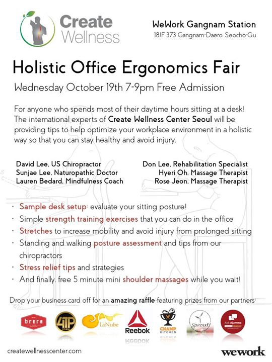 Holistic Office Ergonomics Fair at Wework Gangnam 18F