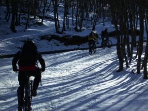 Mountain Biking on the snow at Piano Battaglia