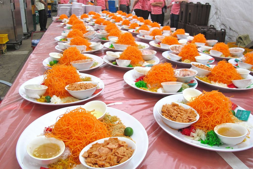 Around 100 Yu Sheng Plates for the Annual Mass Reunion Dinner during Chinese New Year Celebrations
