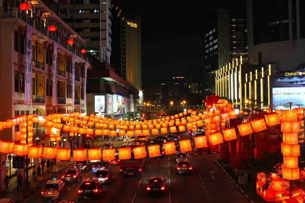 Festive Chinatown in Singapore during Chinese New Year