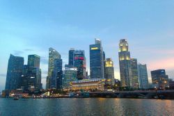 Singapore city skyline, CBD, Central Business District by night