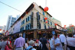 Chinatown busy streets and charming shophouses in Singapore
