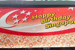Flags to celebrate National Day in Singapore