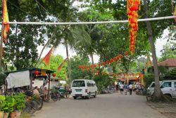 Bike rental shops greet you upon arrival on Pulau Ubin