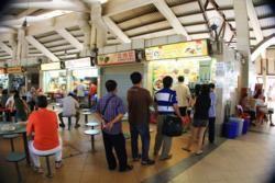 Queuing at food stalls