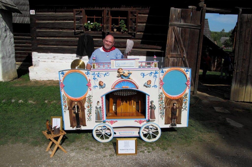 Organist with a vintage pinball machine