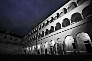 Brezice Castel inside by night