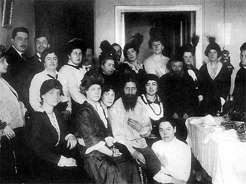 Rasputin in apartment at Gorokhovaya surrounded by adoring followers