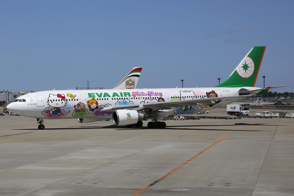 EVA air aeroplane on Taoyuan airport