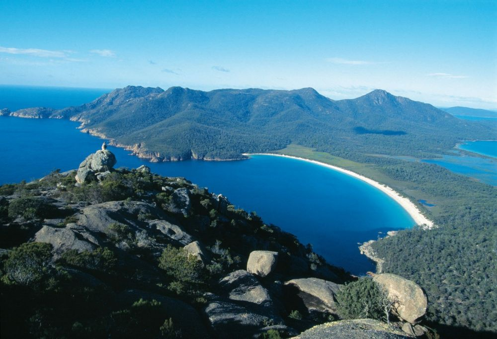 Wineglass Bay from Mt Amos, Freycinet National Park. Copyright: Tourism Tasmania & Holger Leue