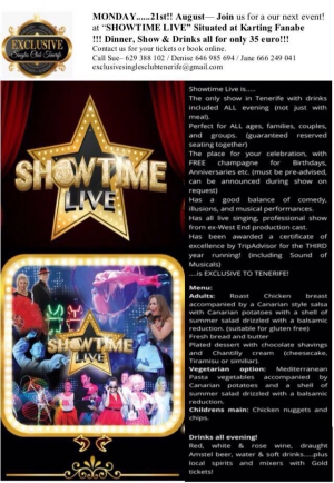 Singles Night at Showtime Tenerife