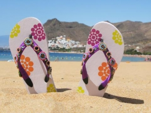Flip flops on a Tenerife beach