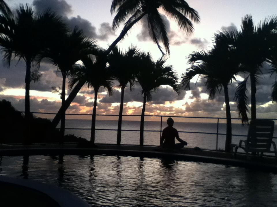 Poolside sunset meditation