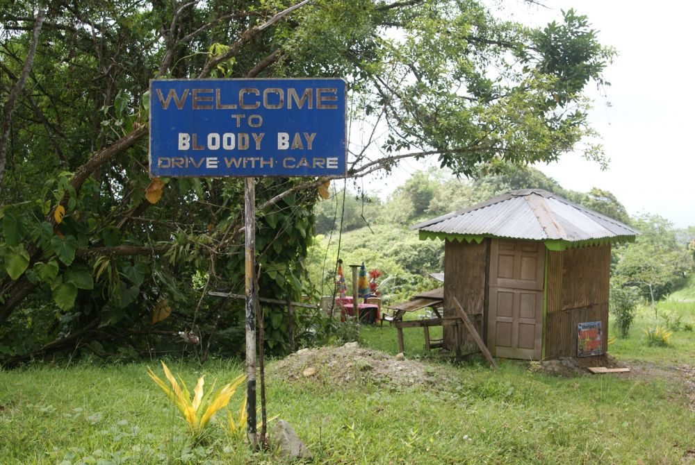 Welcome sign at Bloody Bay