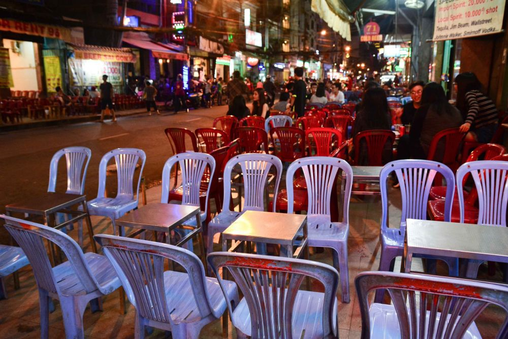Plastic chairs on Bui Vien St