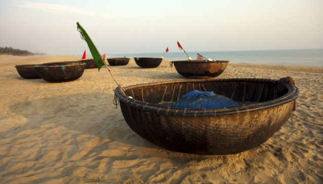 Coracles on beach, Hoi An