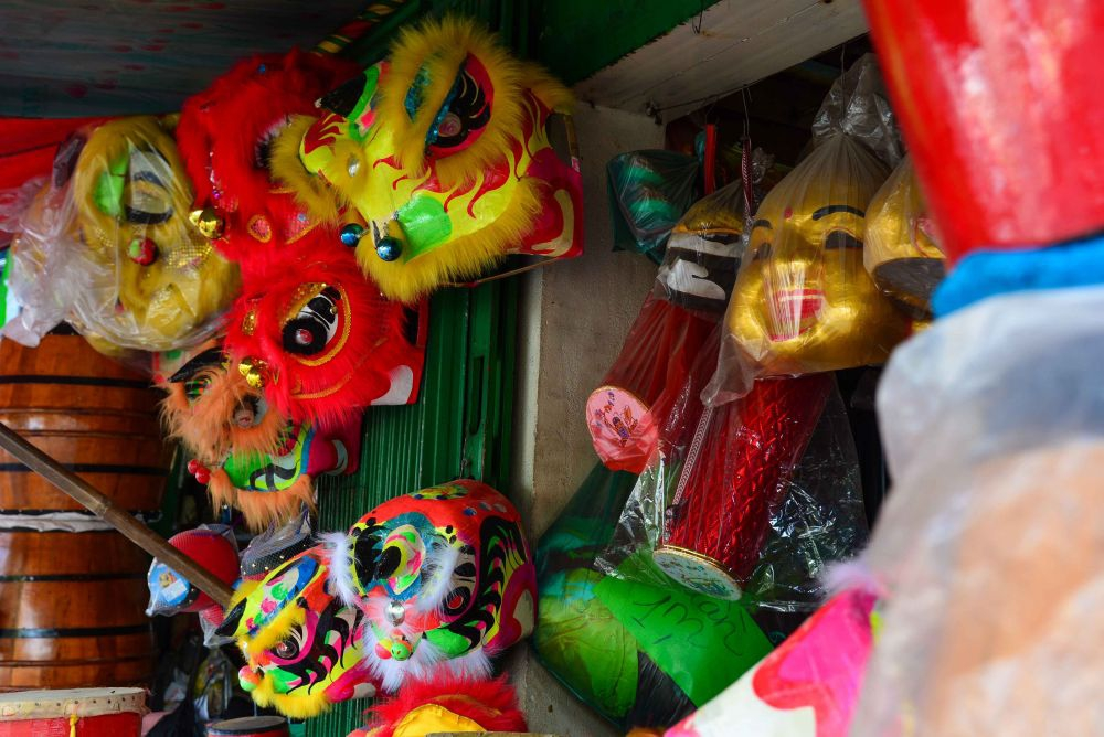 Lion dance heads